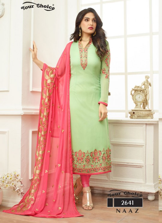 Pista Green Georgette Straight Cut Suit NAAZ 2641 By Your Choice