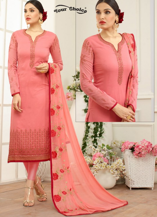Pink Georgette Straight Cut Suit NAAZ 2642 By Your Choice