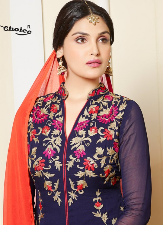 Blue Chanderi Straight Cut Suit Remix 3 NX 2454 By Your Choice