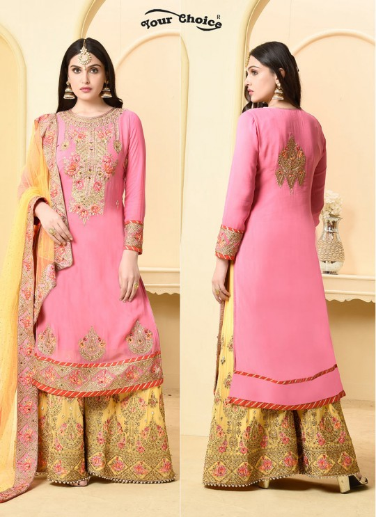 Pink Faux Georgette Pakistani Sharara Suit SARARA 2 2878 By Your Choice