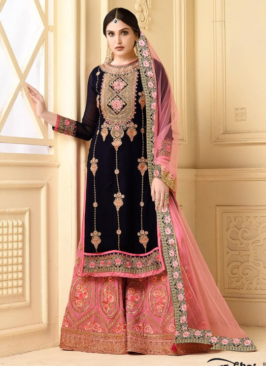 Black Faux Georgette Pakistani Sharara Suit SARARA 3 2922 By Your Choice