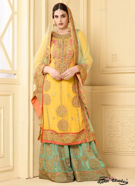 Yellow Faux Georgette Pakistani Sharara Suit SARARA 3 2923 By Your Choice