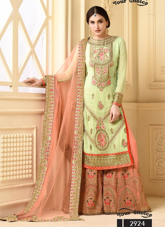Pista Green Faux Georgette Pakistani Sharara Suit SARARA 3 2924 By Your Choice