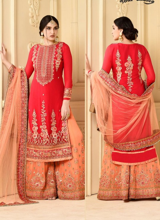 Red Faux Georgette Pakistani Sharara Suit SARARA 3 2925 By Your Choice