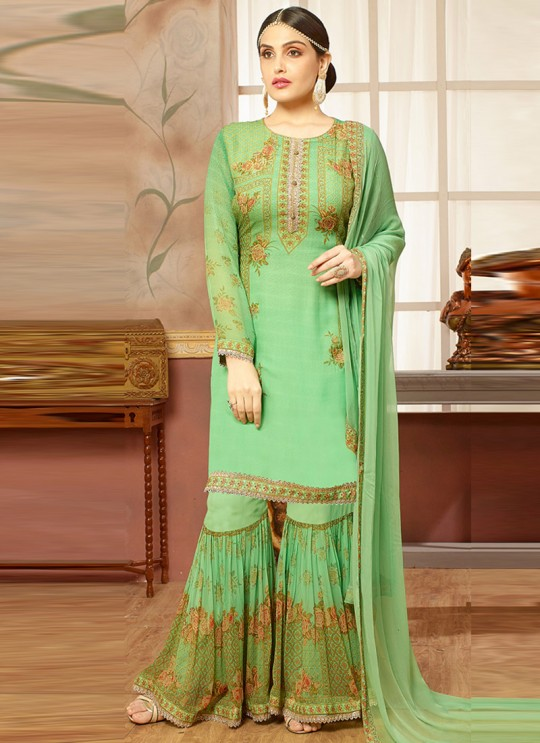 Green Faux Georgette Pakistani Sharara Suit SEERAT 2852 By Your Choice