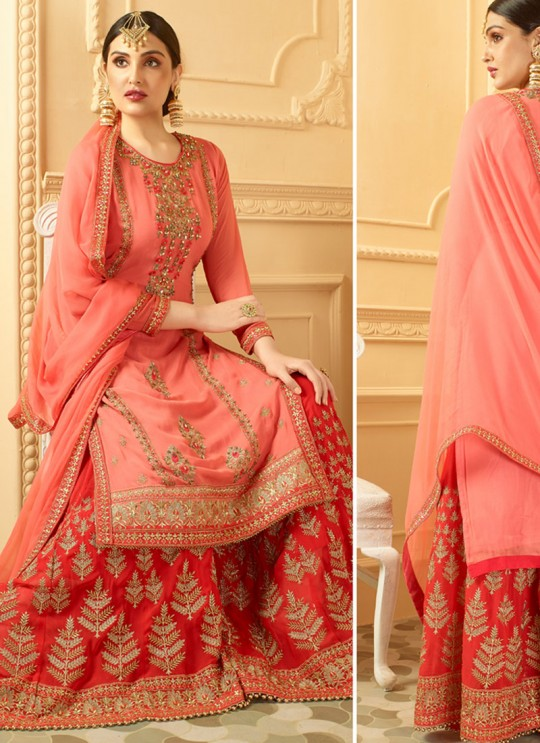 Peach, Read Faux Georgette Pakistani Sharara Suit SARARA 2847 By Your Choice