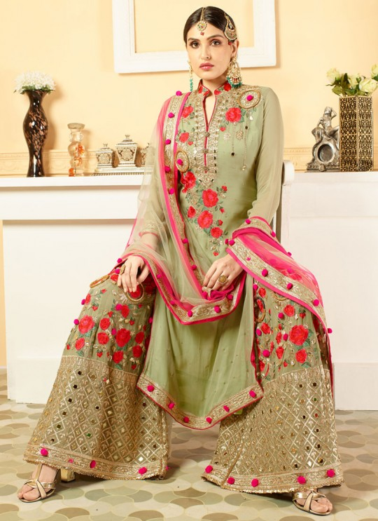 Green Faux Georgette Pakistani Sharara Suit SARARA 2848 By Your Choice