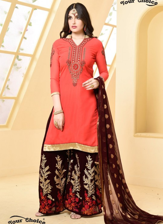Pink Faux Georgette Pakistani Sharara Suit SHEHZADI 2891 By Your Choice