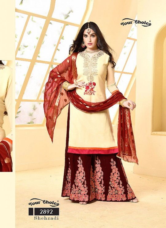 Cream Faux Georgette Pakistani Sharara Suit SHEHZADI 2892 By Your Choice