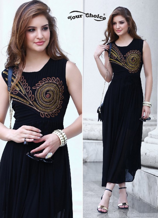 Black Faux Georgette Designer Kurti 2856 Tipsy Topsy Vol 5 By Your Choice Surat Size L