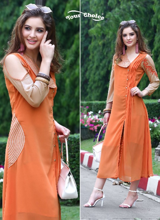 Orange Faux Georgette Designer Kurti 2857 Tipsy Topsy Vol 5 By Your Choice Surat Size L