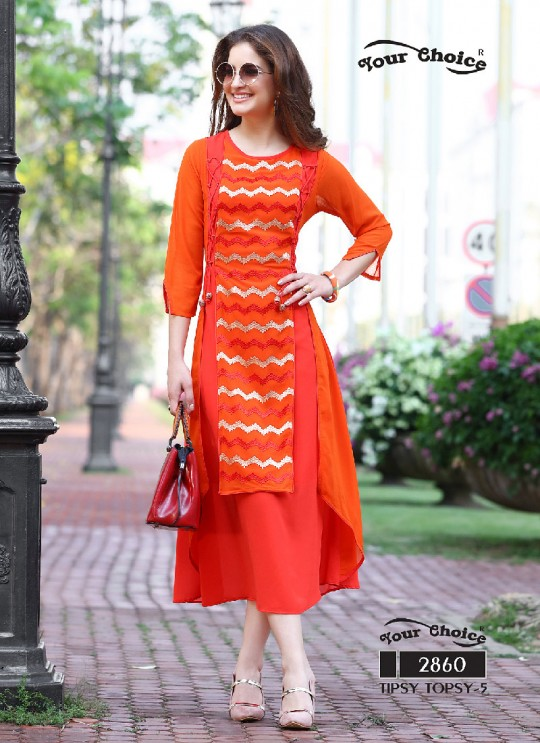 Orange Faux Georgette Designer Kurti 2860 Tipsy Topsy Vol 5 By Your Choice Surat Size L
