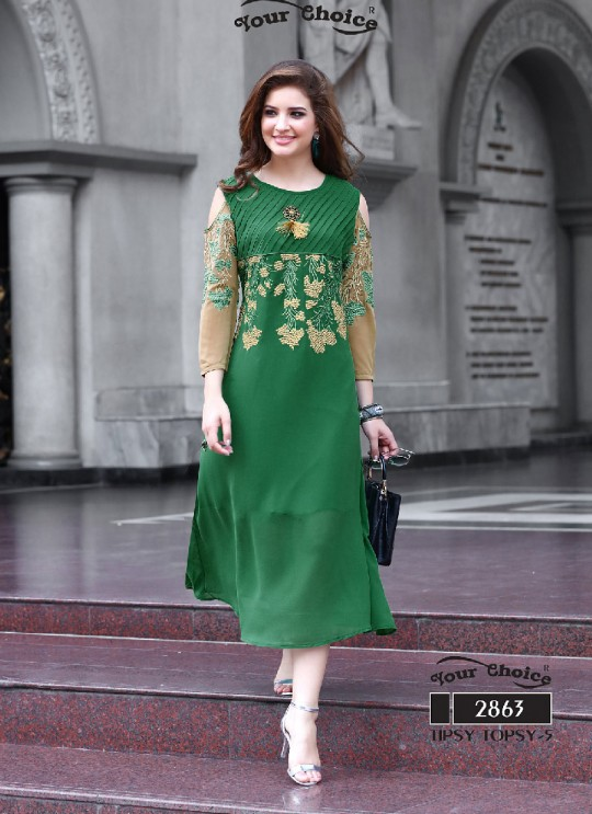 Green Faux Georgette Designer Kurti 2863 Tipsy Topsy Vol 5 By Your Choice Surat Size L