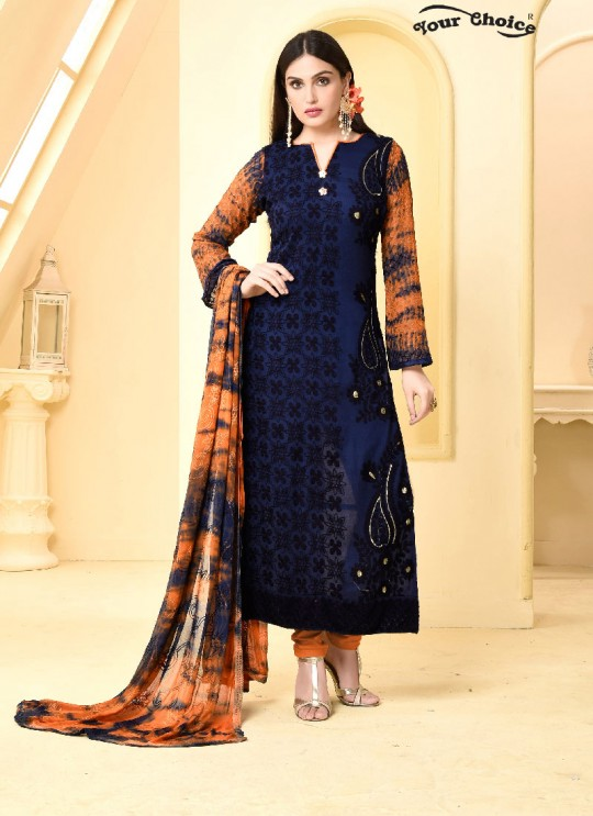 Blue Chiffon Straight Suits 2969 Dinnar Vol 19 By Your Choice Surat