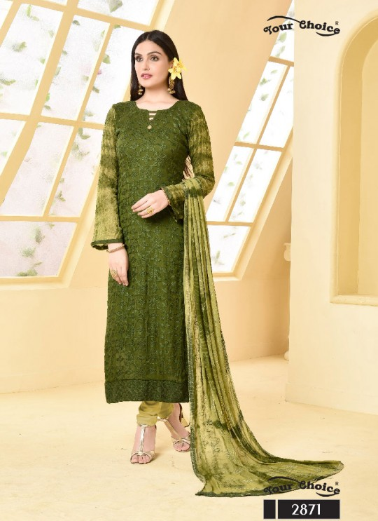 Green Chiffon Straight Suits 2871 Dinnar Vol 19 By Your Choice Surat