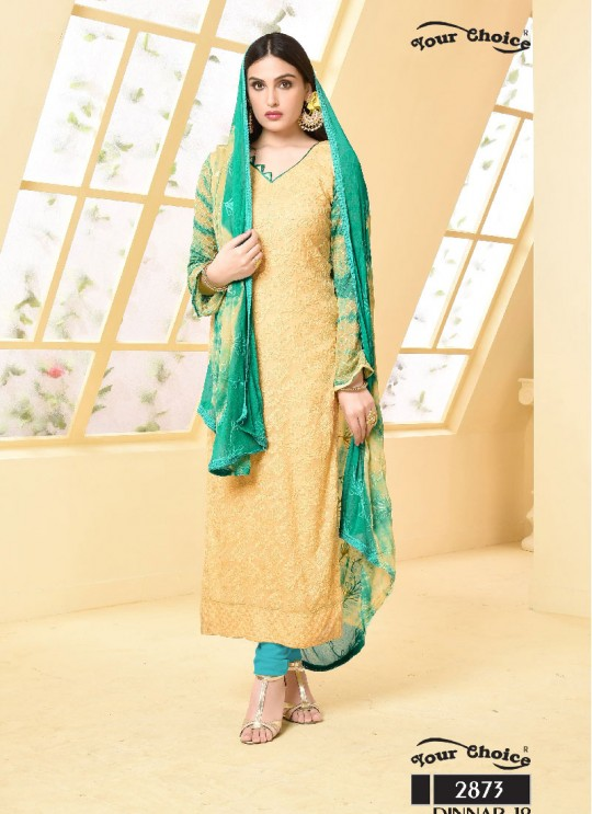 Yellow Chiffon Straight Suits 2873 Dinnar Vol 19 By Your Choice Surat