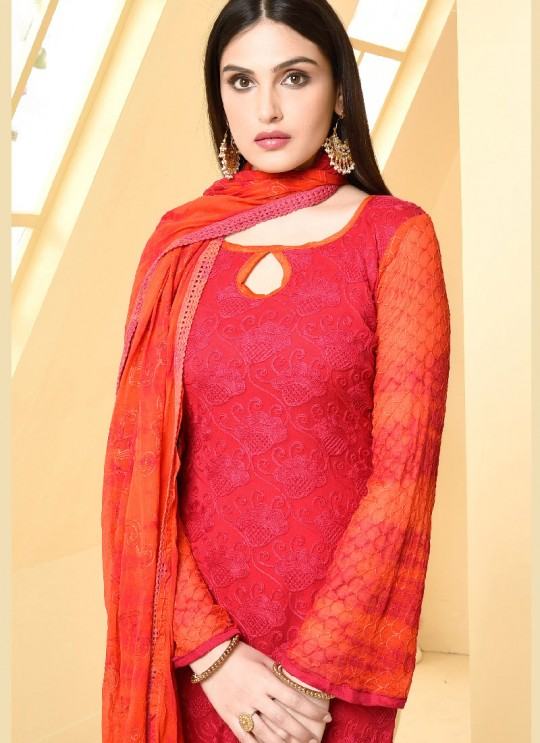 Red Chiffon Straight Suits 2874 Dinnar Vol 19 By Your Choice Surat