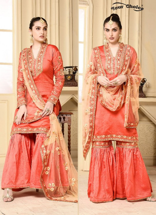 Pink Jam Silk Cotton Sharara Style Suit 2911 Your Choice G-5 By Your Choice Surat