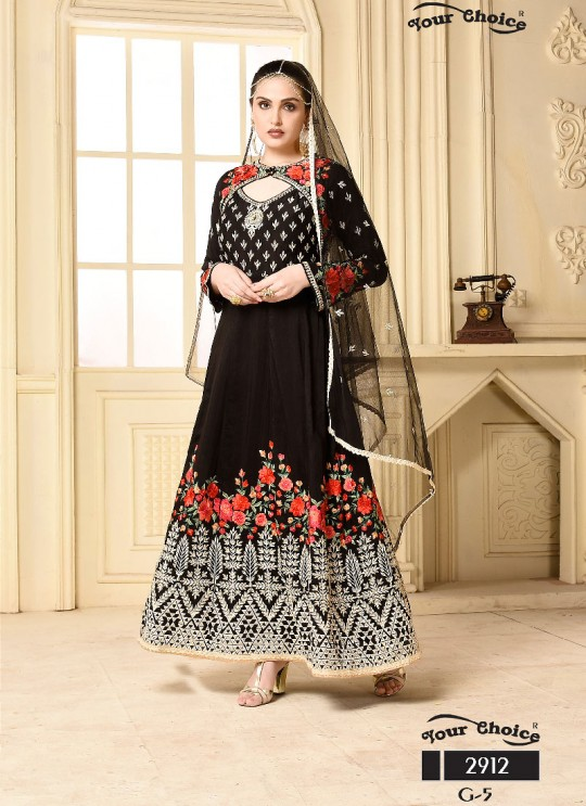 Black Silk Anarkali Suit 2912 Your Choice G-5 By Your Choice Surat