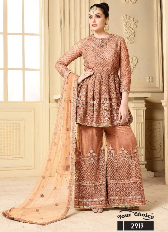 Brown Net Sharara Style Suit 2913 Your Choice G-5 By Your Choice Surat
