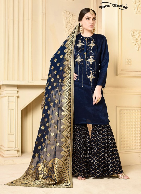 Blue Georgette Sharara Style Suit 2914 Zaraa By Your Choice Surat