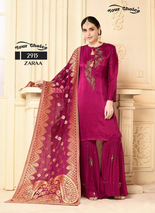 Magenta Georgette Sharara Style Suit 2915 Zaraa By Your Choice Surat