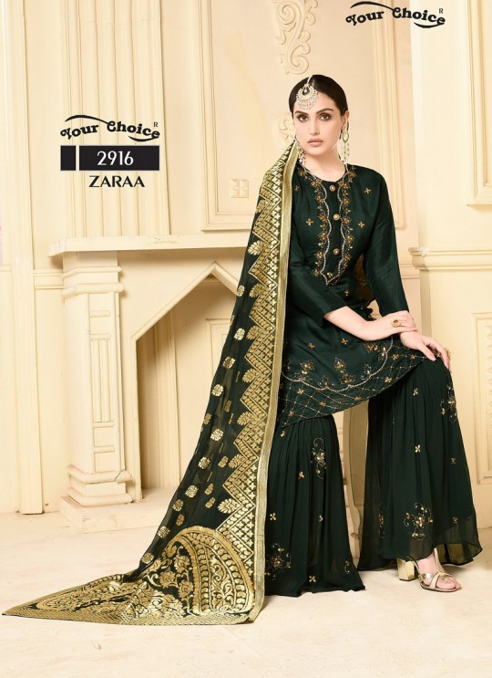 Green Georgette Sharara Style Suit 2916 Zaraa By Your Choice Surat