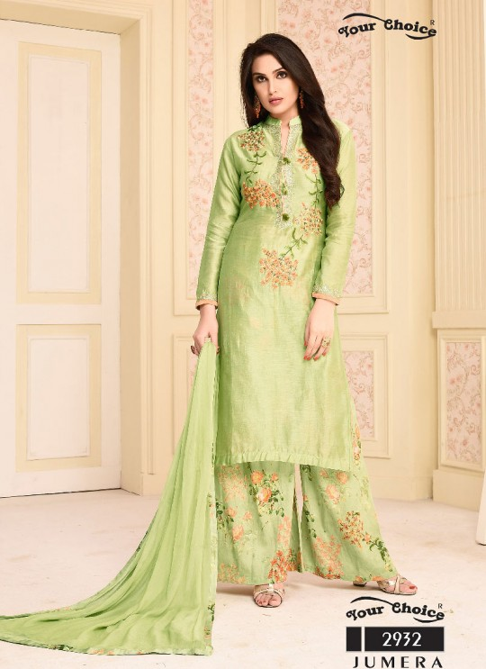 Green Net Palazzo Suit 2932 Jumera By Your Choice Surat