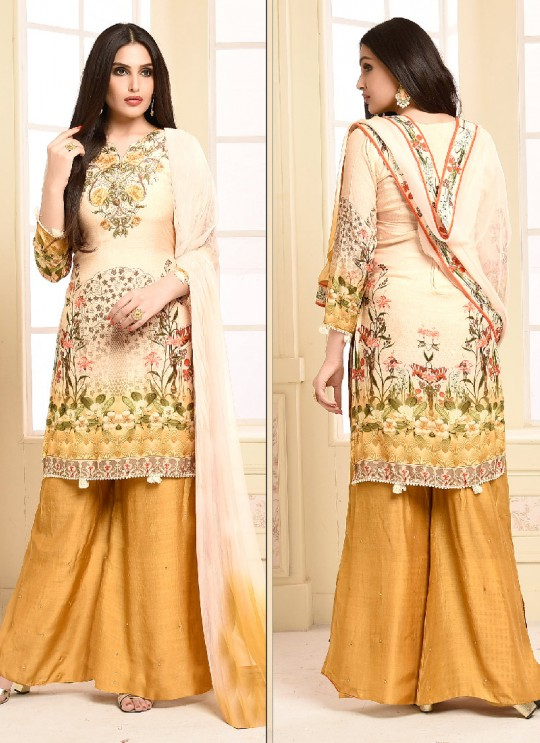 Pink N Yellow Cotton Palazzo Suit 2935 Rajori 2 By Your Choice Surat