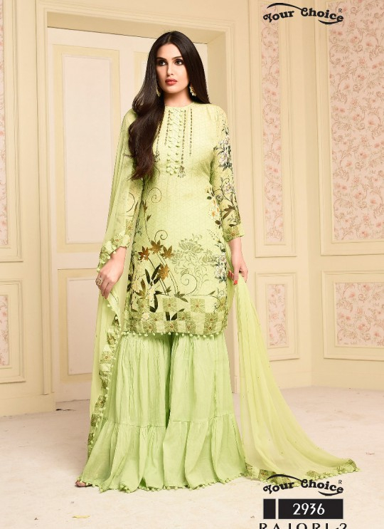 Green Cotton Sharara Style Suit 2936 Rajori 2 By Your Choice Surat