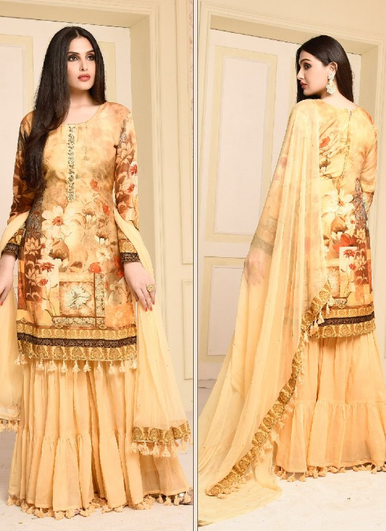 Yellow Cotton Sharara Style Suit 2937 Rajori 2 By Your Choice Surat