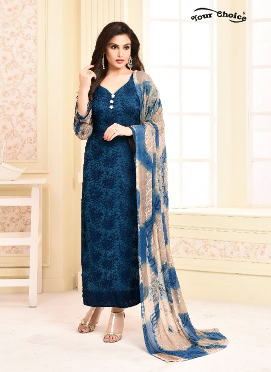 Blue Chiffon Straight Suits 2938 Dinnar Vol 20 By Your Choice Surat