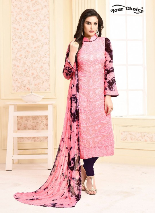 Pink Chiffon Straight Suits 2939 Dinnar Vol 20 By Your Choice Surat