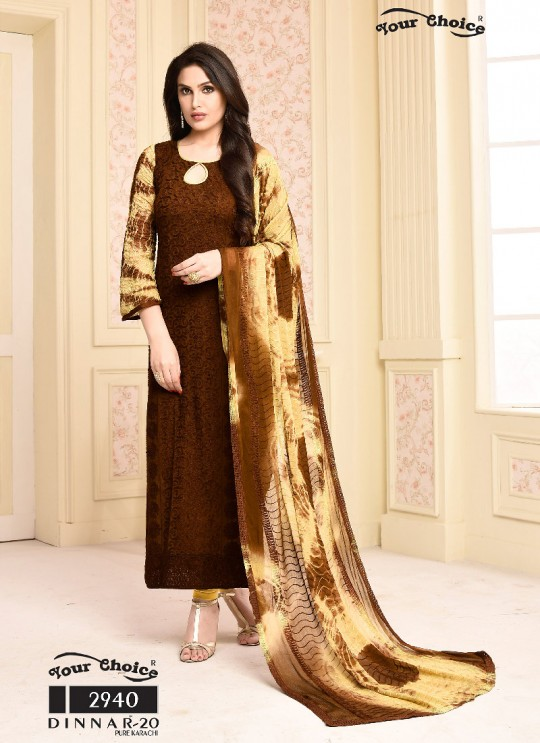 Brown Chiffon Straight Suits 2940 Dinnar Vol 20 By Your Choice Surat