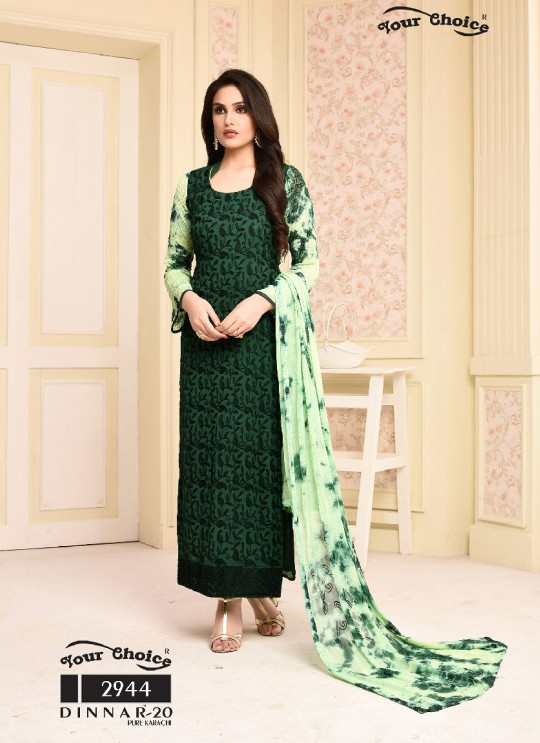 Green Chiffon Straight Suits 2944 Dinnar Vol 20 By Your Choice Surat