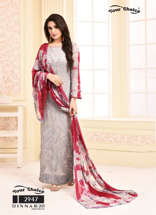 Grey Chiffon Straight Suits 2947 Dinnar Vol 20 By Your Choice Surat