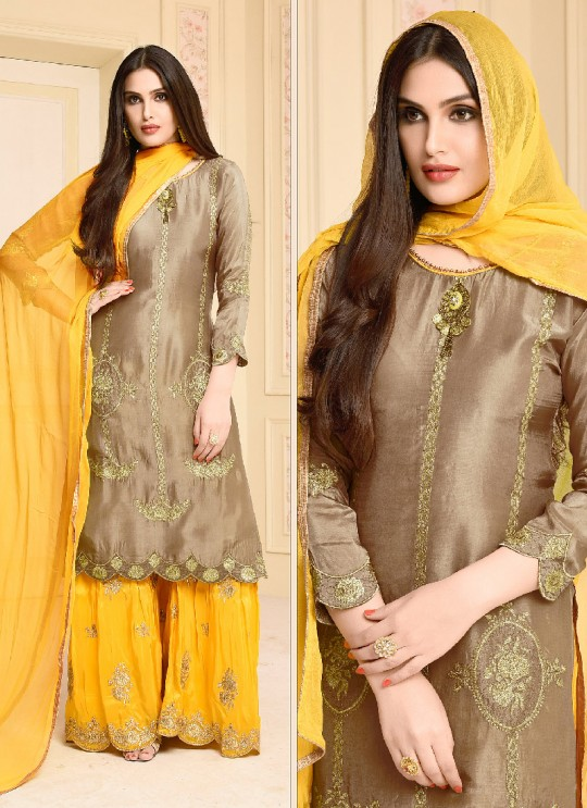 Light Brown Jam Silk Cotton Palazzo Suit 2949 Bushra By Your Choice Surat