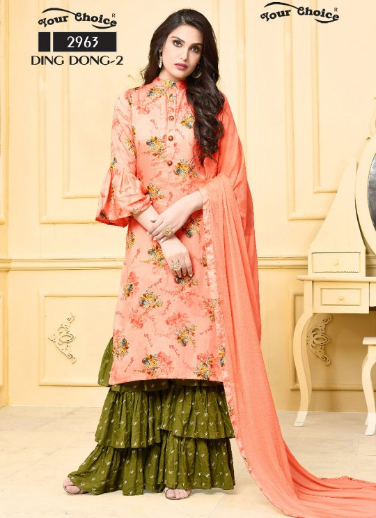 Pink Jam Silk Cotton Sharara Style Suit 2963 Ding Dong Vol 2 By Your Choice Surat