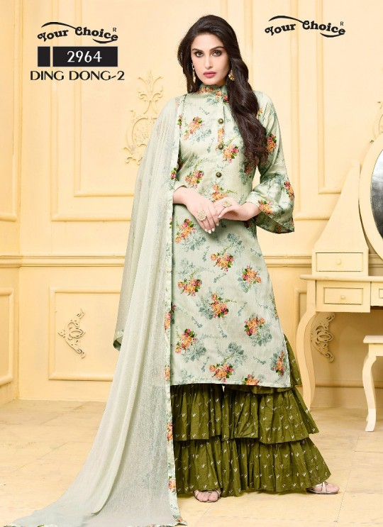 Pista Green Jam Silk Cotton Sharara Style Suit 2964 Ding Dong Vol 2 By Your Choice Surat