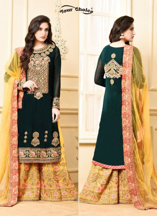 Green Georgette Sharara Style Suit 2970 Sarara 4 By Your Choice Surat
