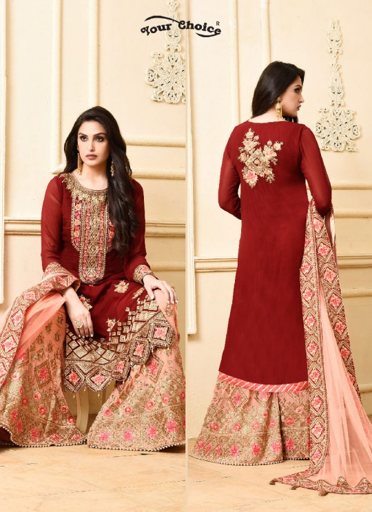Maroon Georgette Sharara Style Suit 2971 Sarara 4 By Your Choice Surat
