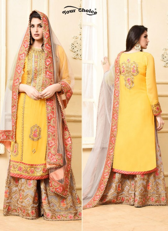 Yellow Georgette Sharara Style Suit 2972 Sarara 4 By Your Choice Surat