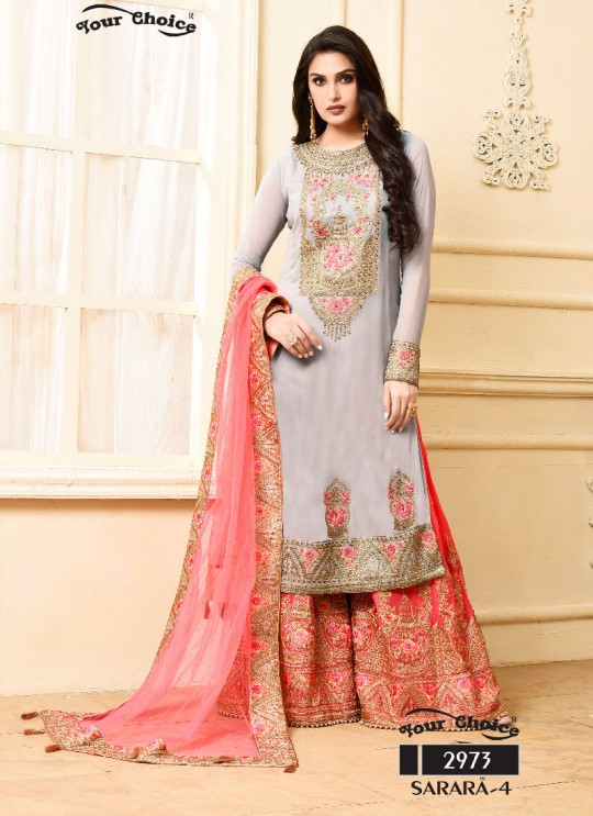 Grey Georgette Sharara Style Suit 2973 Sarara 4 By Your Choice Surat