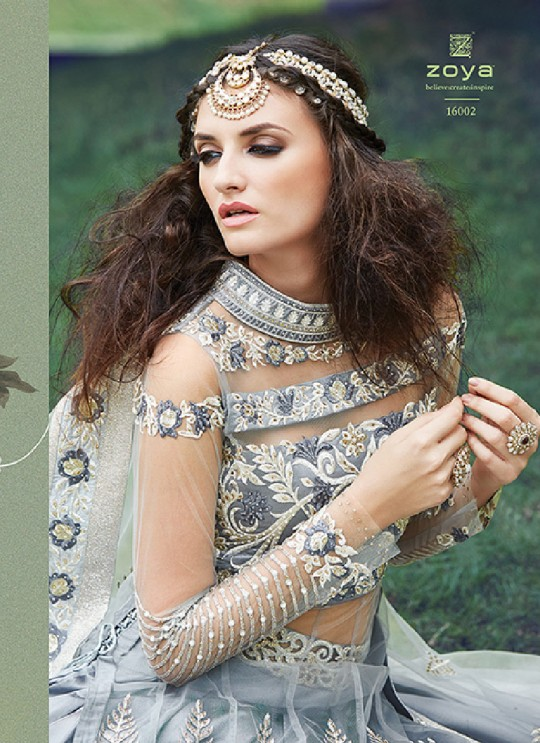 Grey Net Anarkali With Skirt 16002 Zoya 16001 Series By Zoya