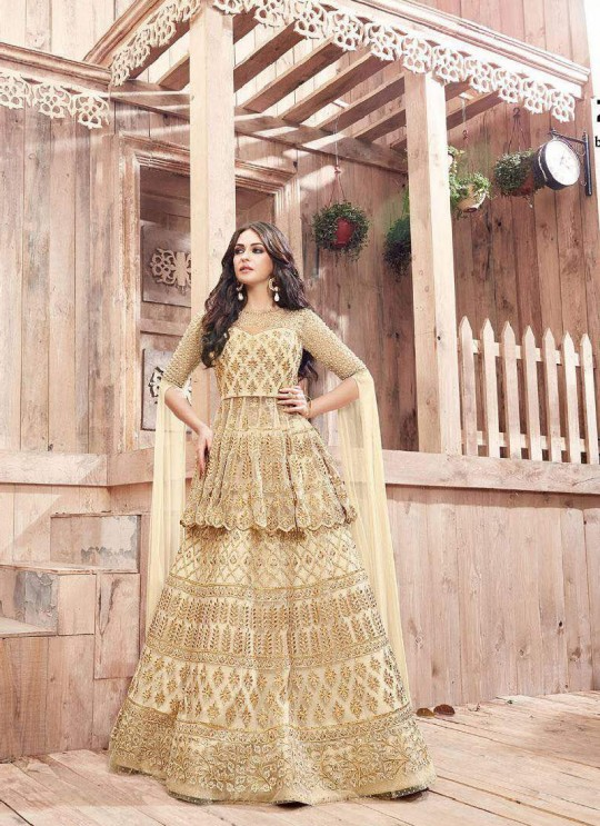 Cream Net IndowesternSuit 21001 ENGAGED 21001 TO 21004 SERIES BY ZOYA By Zoya