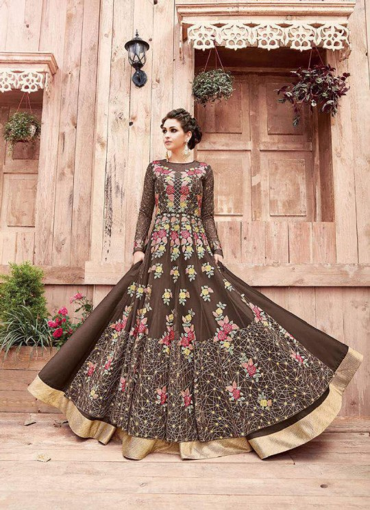 Brown Net Floor Length Anarkali 21004 ENGAGED 21001 TO 21004 SERIES BY ZOYA By Zoya