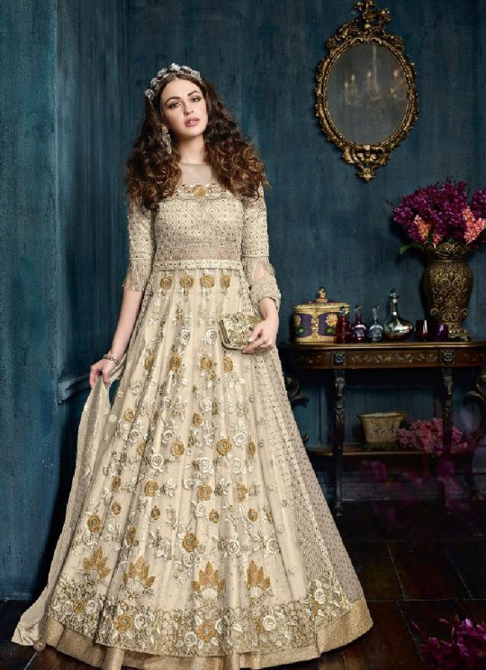 Gold Net Floor Length Anarkali 22001B Zoya Celebrity 22001 Series By Zoya