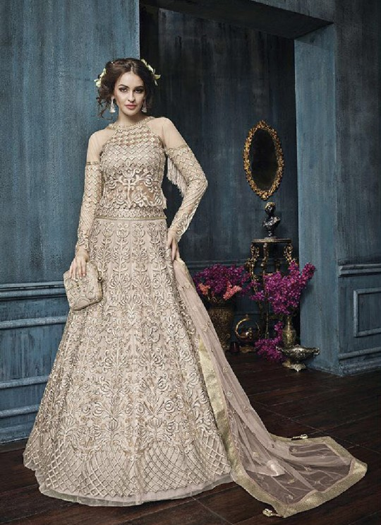 Beige Net Anarkali With Skirt 22003B Zoya Celebrity 22001 Series By Zoya