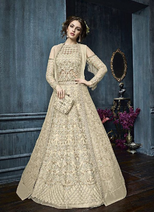 Gold Net Anarkali With Skirt 22003D Zoya Celebrity 22001 Series By Zoya