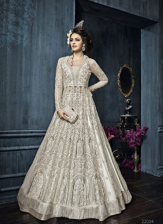 Off-white Net Anarkali With Skirt 22004 Zoya Celebrity 22001 Series By Zoya